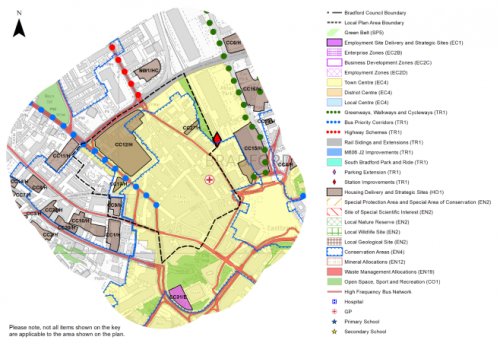 Plan showing proposals in the Top of Town- City Village Neighbourhood